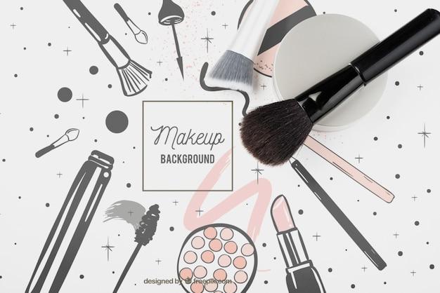 Lay plat de maquette de brosse cosmétique