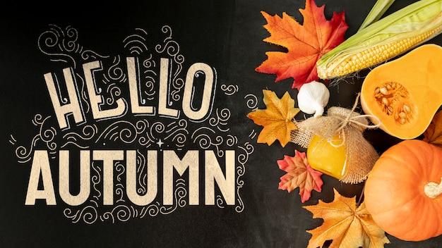 Légumes automne avec bonjour automne citation