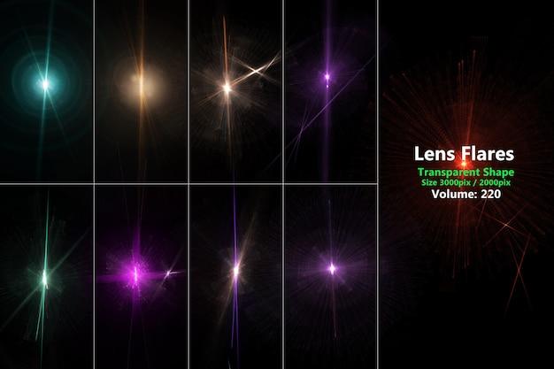 Lens flares ensemble coloré réaliste isoler