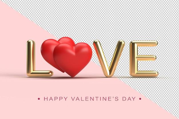Lettrage d'amour or avec des coeurs rouges avec une flèche de cupidon en rendu 3d isolé