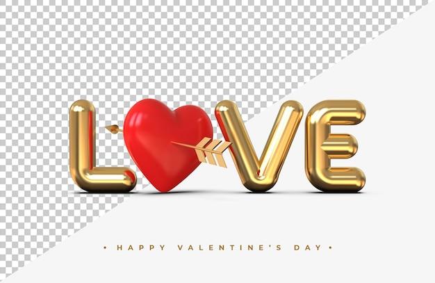 Lettrage d'amour d'or avec des coeurs rouges avec une flèche du rendu 3d de cupidon isolé