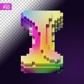 Lettre 3d faite de pixels colorés