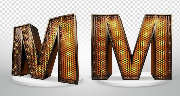 Lettre 3d m avec lumières et grille