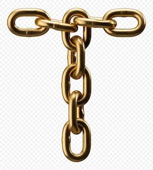 Lettre de l'alphabet chaîne d'or t isolé