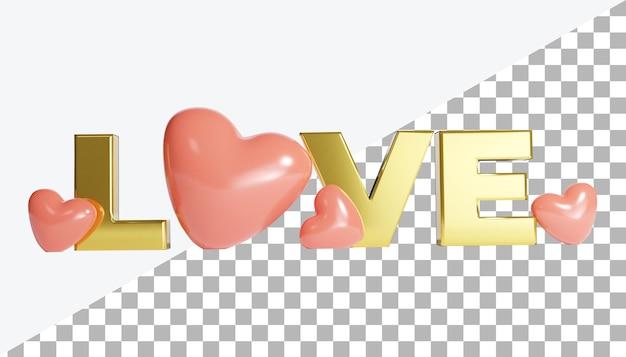 Lettre d'amour en or de rendu 3d avec coeur saint-valentin