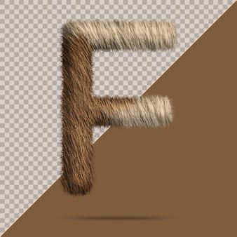 Lettre f avec fourrure 3d réaliste