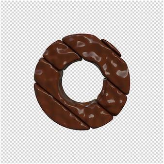 Lettre faite de rendu 3d au chocolat