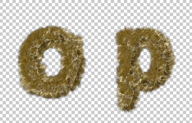 Lettre de fourrure blonde o et lettre p