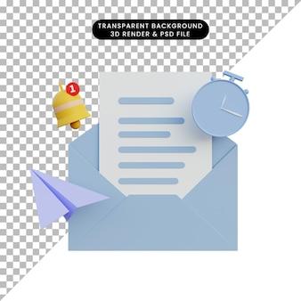 Lettre de notification de rendu 3d avec horloge cloche et avion en papier