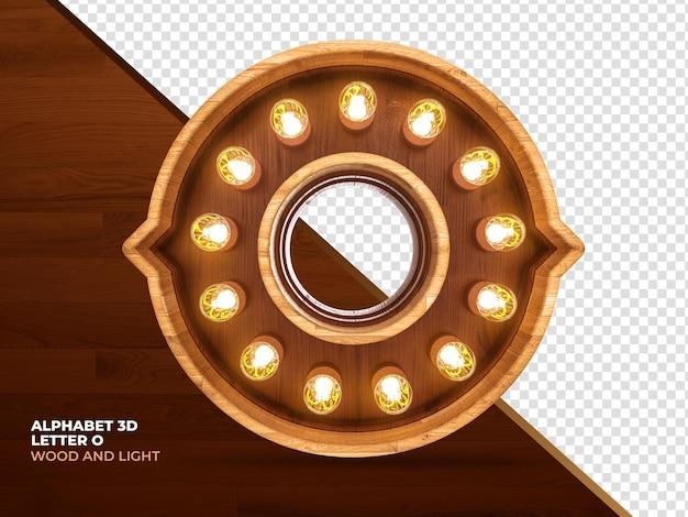 Lettre o bois de rendu 3d avec des lumières réalistes