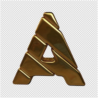 Une lettre en or dans le rendu 3d