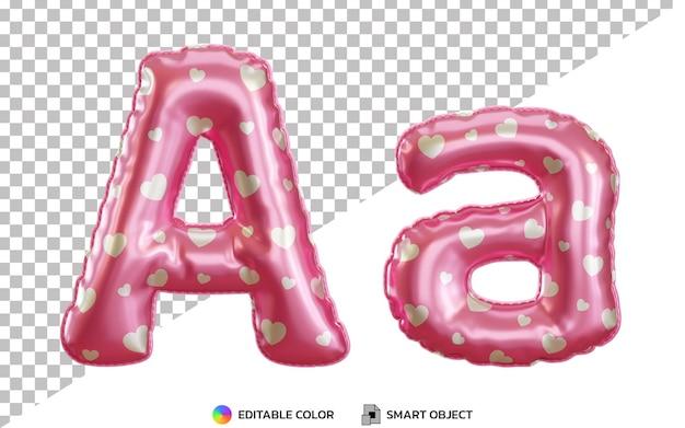 Lettre réaliste 3d un alphabet de ballon en feuille d'hélium rose avec majuscules et minuscules