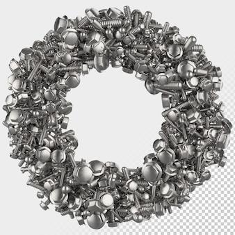 Lettre de rendu 3d à boulon hexagonal isolé o