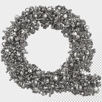 Lettre de rendu 3d à boulon hexagonal isolé q