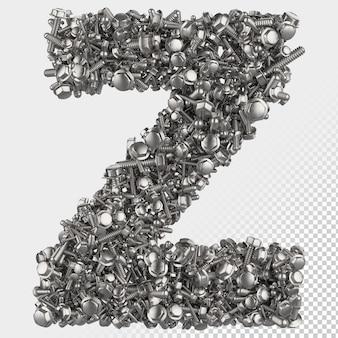 Lettre de rendu 3d à boulon hexagonal isolé z