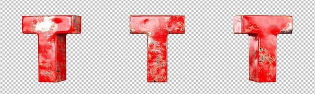 Lettre t de l'ensemble de collection d'alphabet de lettres métalliques rayées rouges. isolé. rendu 3d