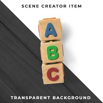 Lettres sur cubes en bois psd transparent