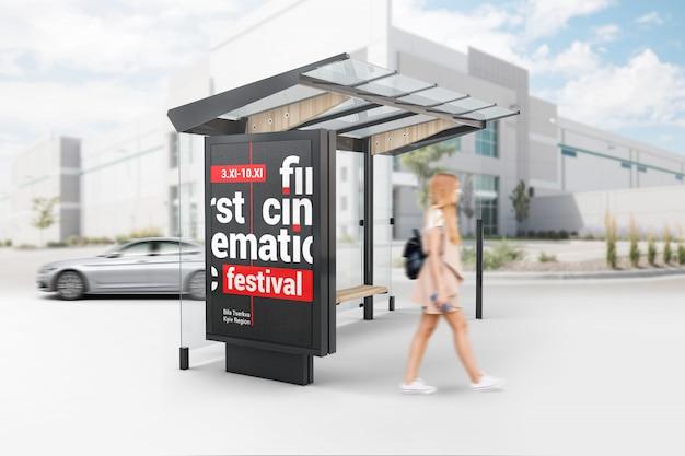 Lightbox publicitaire à l'arrêt de bus
