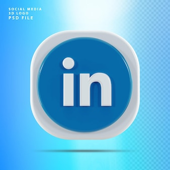 Linkedin icon forme de rendu 3d