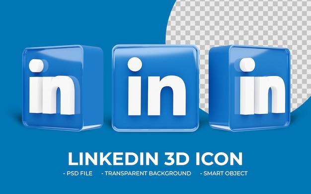 Linkedin logo icône 3d de médias sociaux