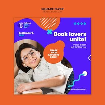 Lire une conception de flyer carré jour du livre