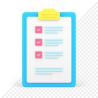 Liste de contrôle icône 3d