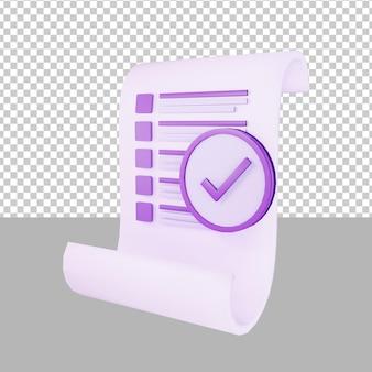 Liste de contrôle papier 3d illustration business
