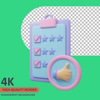 Liste de l'icône de validation de la notation 3d illustration rendu de haute qualité