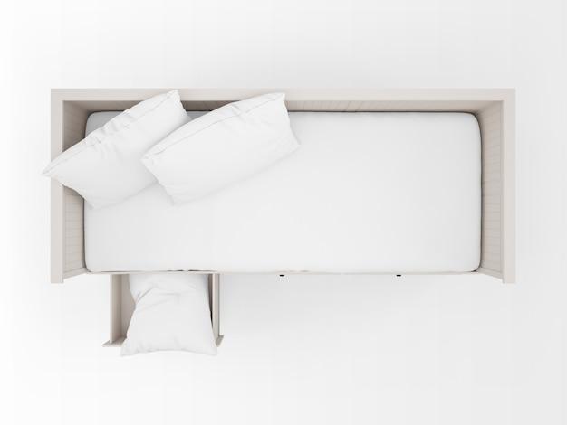 Lit blanc réaliste avec tiroirs sur la vue de dessus