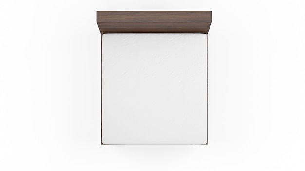 Lit double avec structure en bois et matelas blanc, isolé, vue de dessus