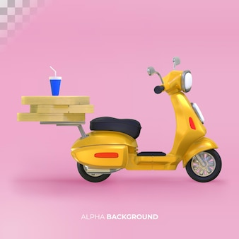 Livraison de nourriture avec scooter. rendu 3d