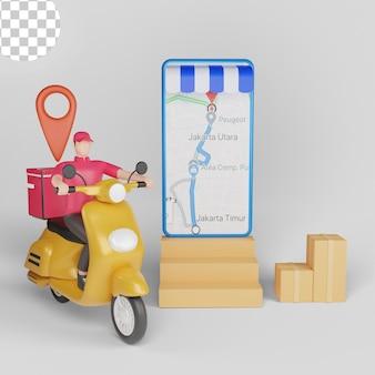 Livraison rapide en scooter sur mobile. psd premium
