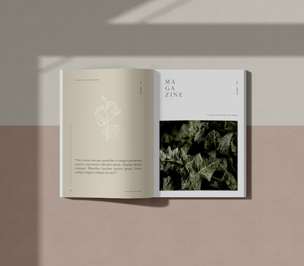 Livre avec maquette de magazine éditorial nature