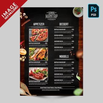 Livre menu modèle côté a