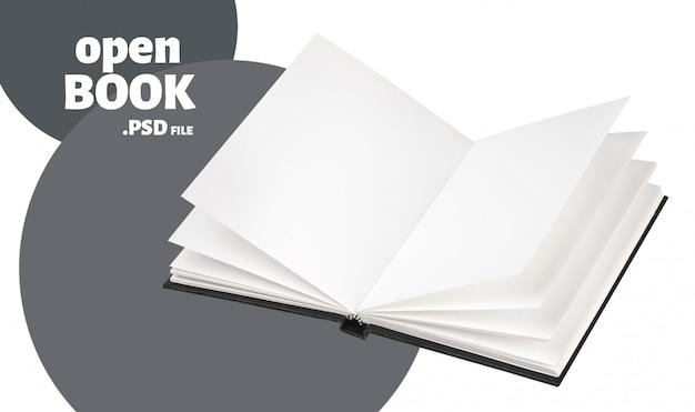 Livre noir ouvert maquette isolé