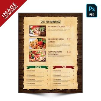 Livre vintage food menu côté a