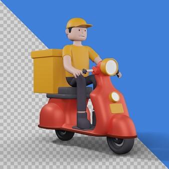 Livreur avec scooter dans la conception d'illustration 3d isolé