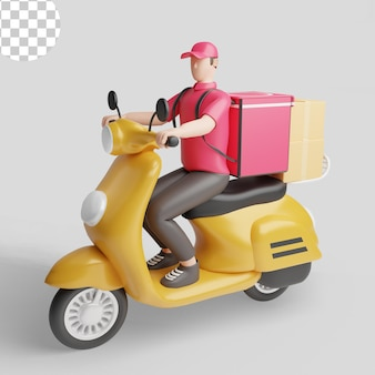 Livreur sur scooter. psd premium