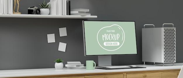 Loft bureau design d'intérieur avec fournitures et décorations pour appareils informatiques rendu 3d