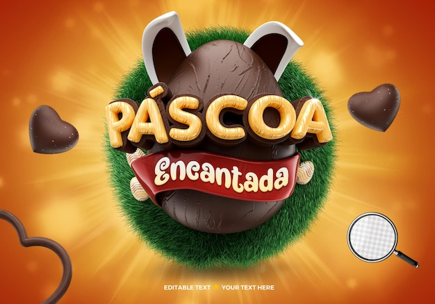 Logo 3d enchanté pâques au brésil oeuf en chocolat et oreilles de lapin