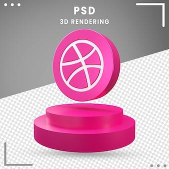 Logo 3d icône rotation dribbble design rendu isolé