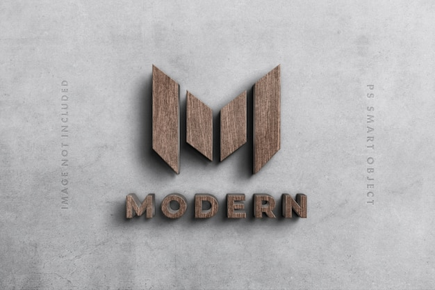 Logo 3d maquette en bois