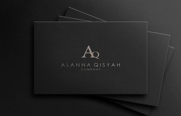 Logo 3d maquette texturé luxe sur papier noir