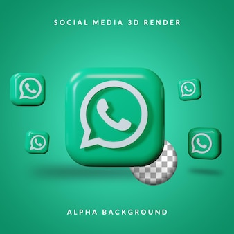 Logo de l'application whatsapp 3d avec fond alpha