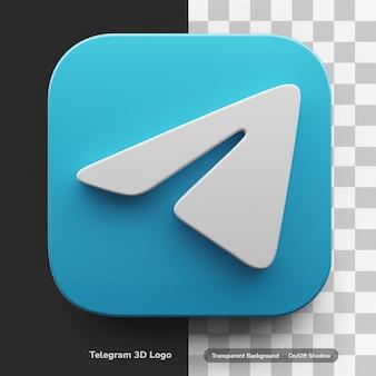 Logo d'applications de télégramme dans un atout de conception 3d de grand style isolé