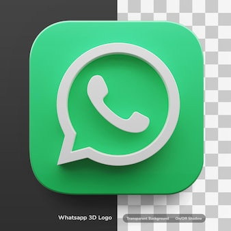 Logo d'applications whatsapp dans un atout de conception 3d de grand style isolé