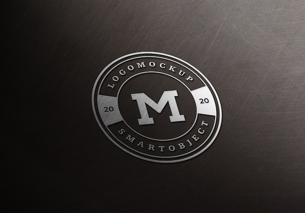 Logo argenté maquette premium psd