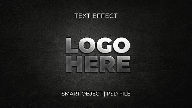 Logo argenté réaliste 3d mockup fond de texture noire modèle psd