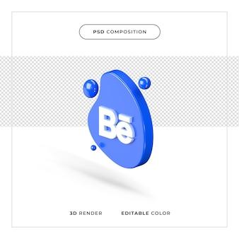 Logo de behance réaliste de rendu 3d
