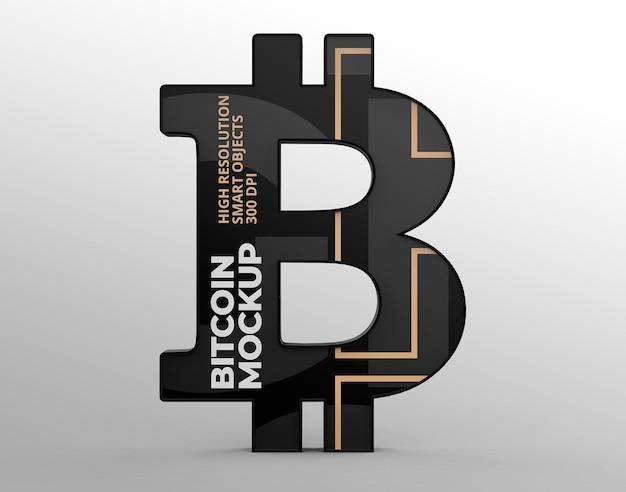 Logo bitcoin mockup pour les présentations de marque et de publicité